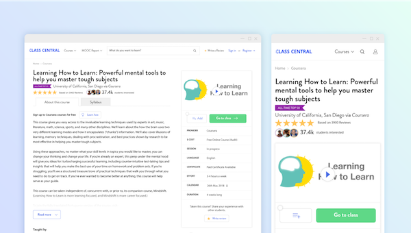 Redesigned Class Central course pages